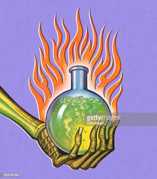 ilustraciones, imágenes clip art, dibujos animados e iconos de stock de esqueleto mano agarrando poción - arma biológica