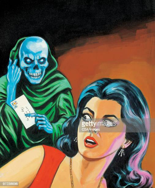 skeleton man coming after woman - courier stock illustrations