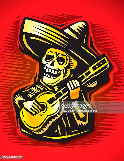 skeleton wearing sombrero and playing guitar - sombrero stock illustrations