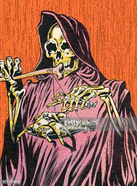 ilustraciones, imágenes clip art, dibujos animados e iconos de stock de esqueleto de brujas - la muerte