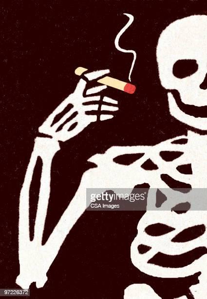 skeleton with cigarette - death stock illustrations