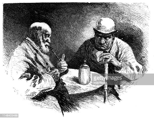 skeptical conversation between two men - pipe smoking pipe stock illustrations, clip art, cartoons, & icons
