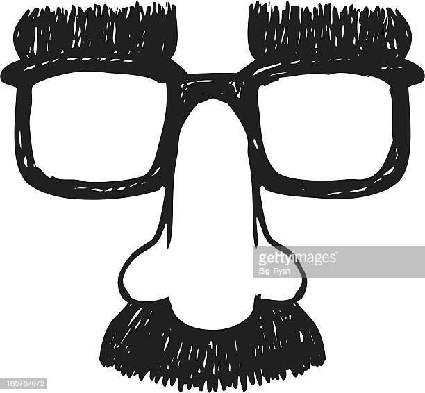 ilustrações, clipart, desenhos animados e ícones de esboço óculos de disfarce - nariz