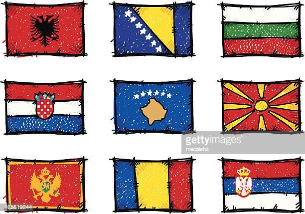 skizze flags - montenegro stock-grafiken, -clipart, -cartoons und -symbole