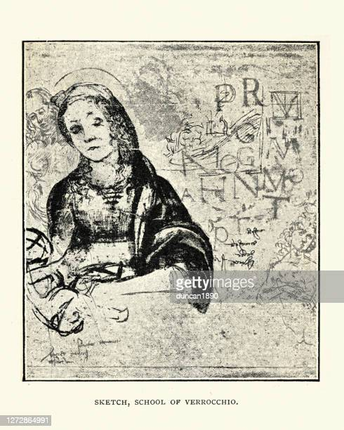 sketch from the school of verrocchio, renaissance art - high renaissance stock illustrations