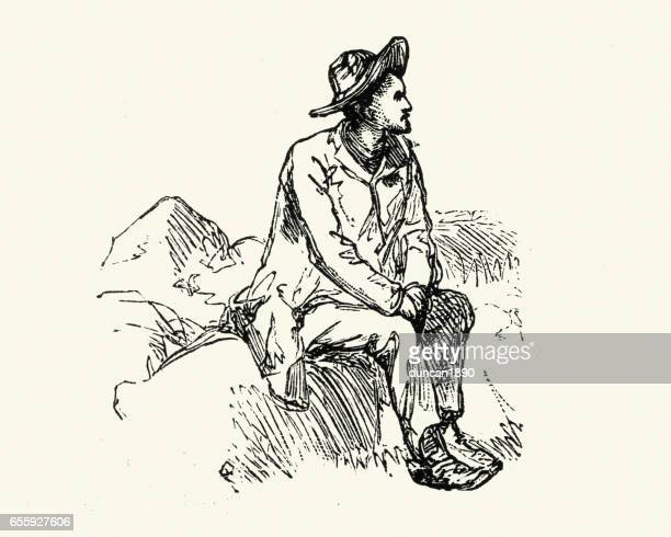 sketch of a tramp, 19th century - vagabond stock illustrations, clip art, cartoons, & icons