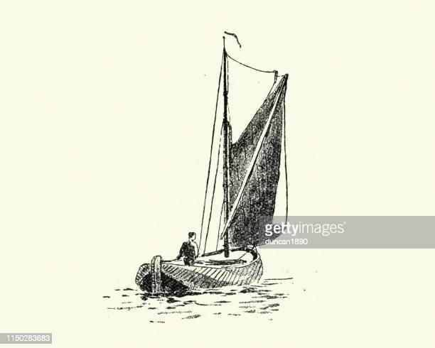 illustrations, cliparts, dessins animés et icônes de croquis d'un bateau de pêche victorien, 19ème siècle - voilier noir et blanc