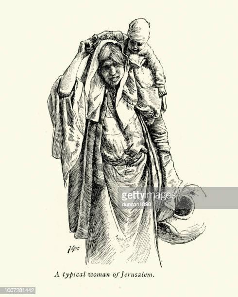 skizze einer frau von jerusalem, mit kind auf rücken - james tissot stock-grafiken, -clipart, -cartoons und -symbole