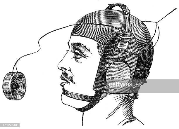 sketch of a young man wearing helmet with headphones - audio equipment stock illustrations, clip art, cartoons, & icons