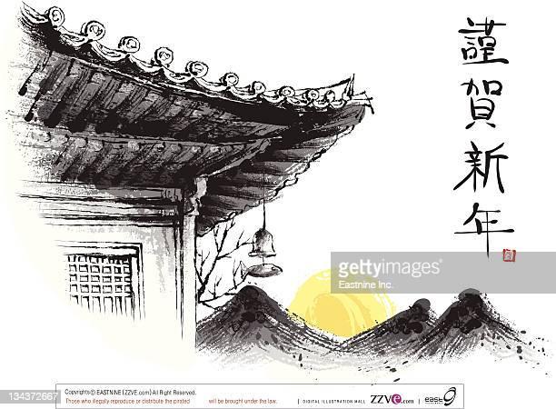 ilustraciones, imágenes clip art, dibujos animados e iconos de stock de sketch of building exterior with scenery - cultura coreana