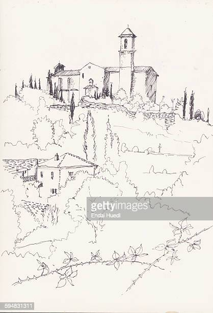 sketch of houses and trees on field against white background - 2015 stock illustrations