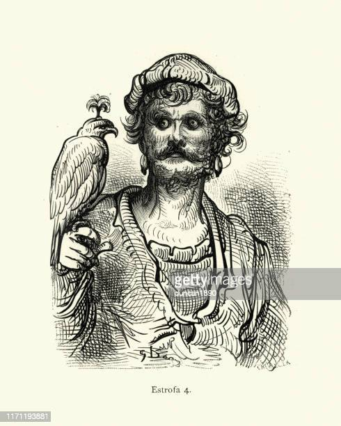 sketch of the falconer and his hawk - falconry stock illustrations