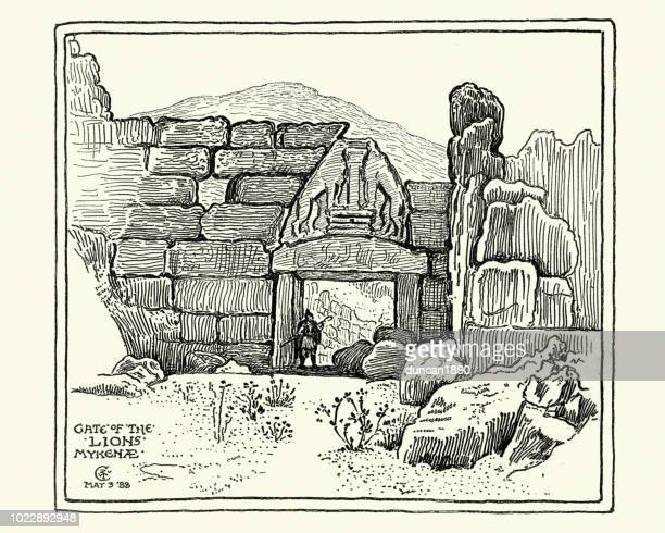 sketch of the lion gate, mycenae, greece - mycenae stock illustrations