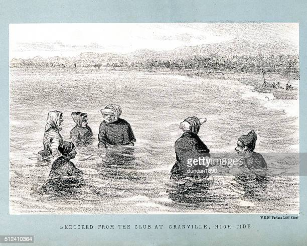 sketch of the swimming club at granville - normandy stock illustrations, clip art, cartoons, & icons