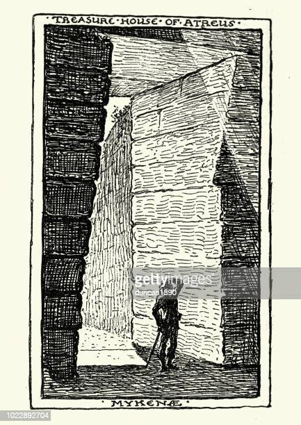 sketch of the treasury of atreus, mycenae, greece - mycenae stock illustrations