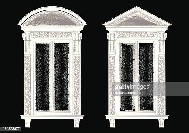 sketch of two ancient windows - pediment stock illustrations, clip art, cartoons, & icons