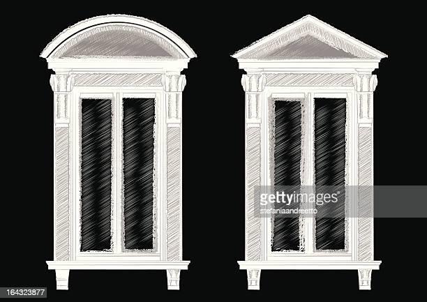 ilustrações, clipart, desenhos animados e ícones de esboço de duas janelas antigas - pediment