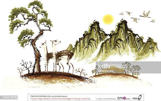 ilustraciones, imágenes clip art, dibujos animados e iconos de stock de sketch of two deer  - cultura coreana