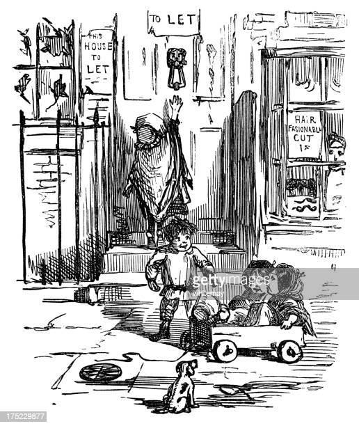 illustrations, cliparts, dessins animés et icônes de croquis de victorian enfants jouant dans le panier. - coiffeur humour