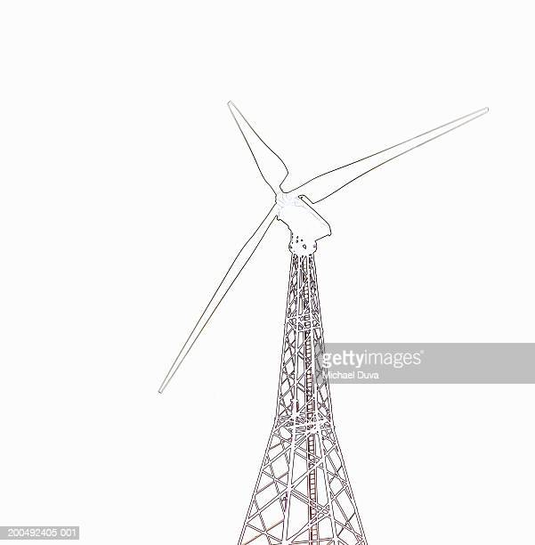 sketch of wind turbine - tall high stock illustrations