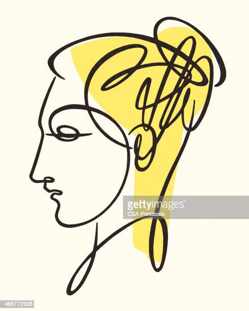sketch of woman - updo stock illustrations, clip art, cartoons, & icons