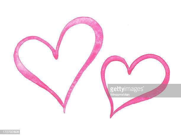 sketch painting of two pink hearts on white - two objects stock illustrations