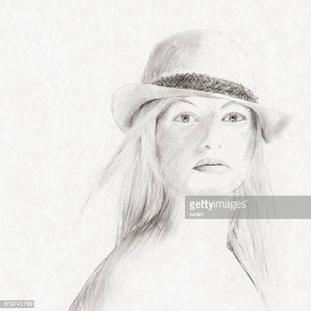 ilustrações de stock, clip art, desenhos animados e ícones de esboço retrato - cabelo liso