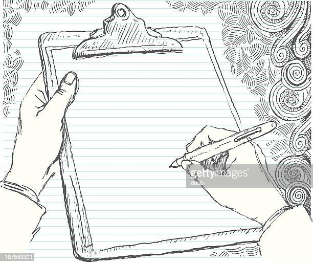 Sketched hand with clipboard