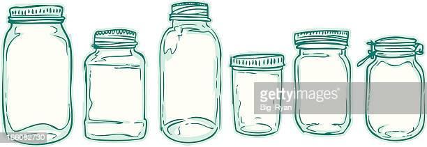 sketched jars - jar stock illustrations