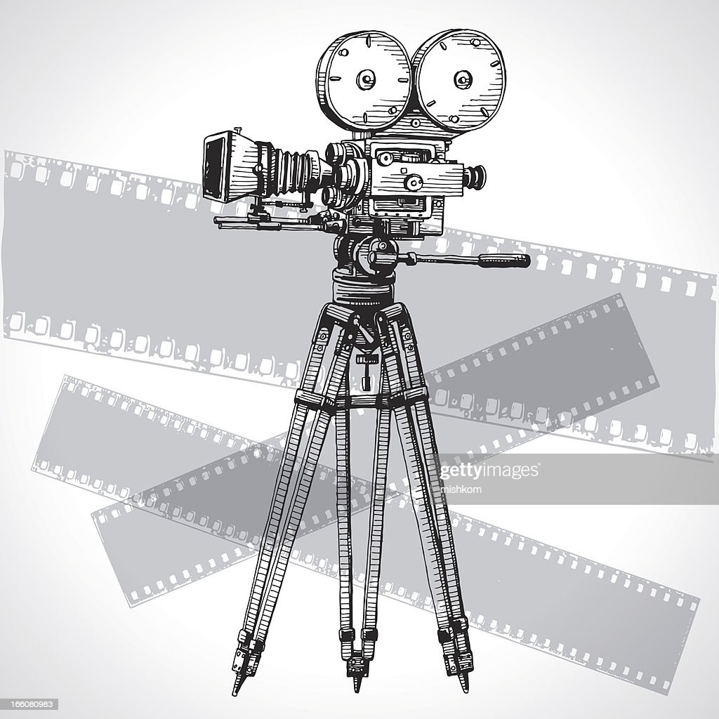 Sketched Movie Camera : stock illustration