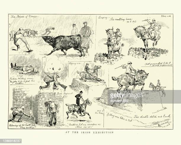 stockillustraties, clipart, cartoons en iconen met schetsen van de ierse tentoonstelling, 1888, cattlle, paardrijden, soldaten - military