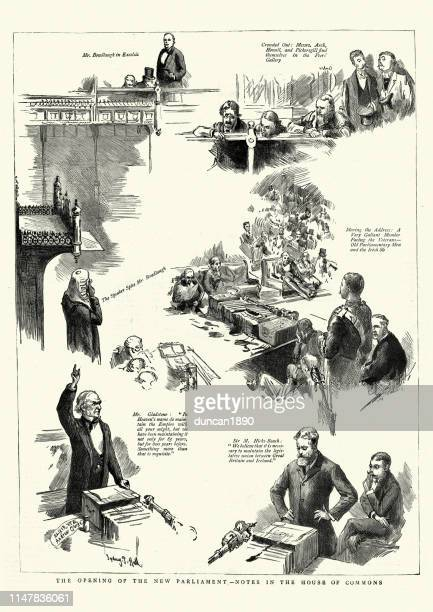 Sketches from the opening of Parliament, 1886, William Gladstone
