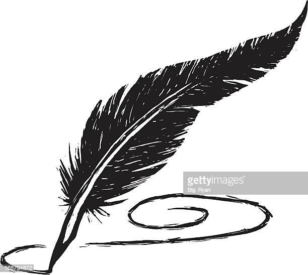 sketchy feather pen - quill pen stock illustrations