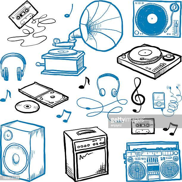 sketchy music icons - gramophone stock illustrations, clip art, cartoons, & icons