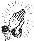sketchy praying hands
