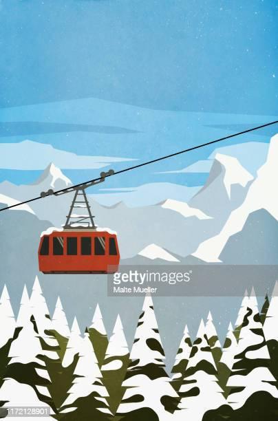 ski gondola ascending mountain - idyllic stock illustrations