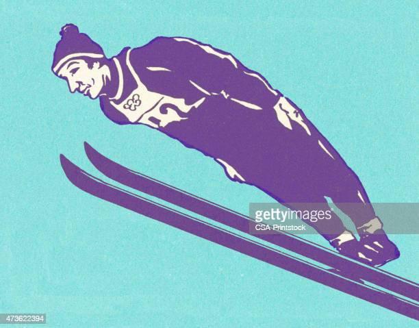 stockillustraties, clipart, cartoons en iconen met ski jumper on blue background - schansspringen