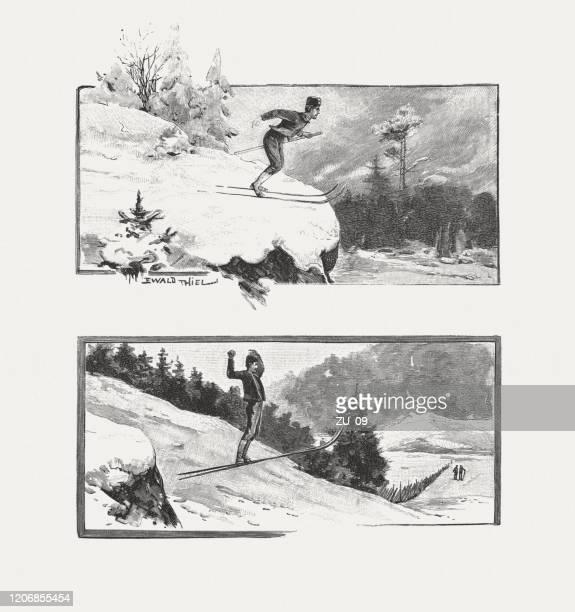 stockillustraties, clipart, cartoons en iconen met schansspringen in het verleden, houtgravures, gepubliceerd in 1895 - schansspringen