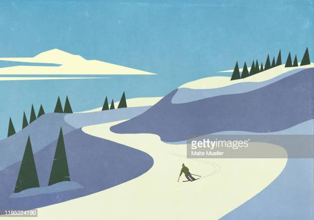 skier descending snowy mountain slope - unrecognisable person stock illustrations