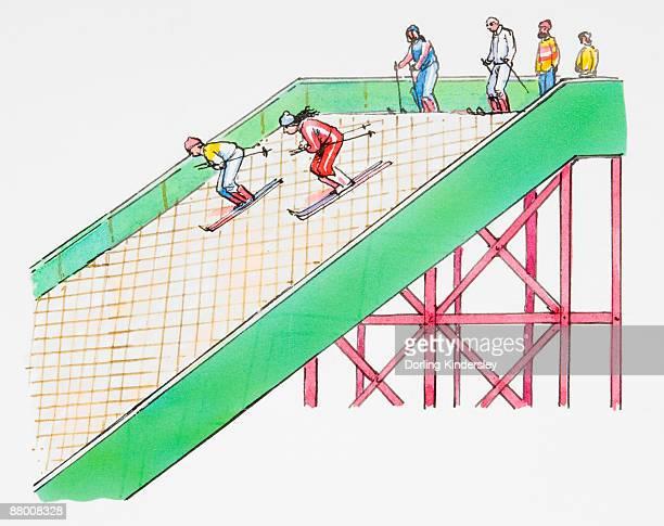 skiers descending down artificial slope - ski slope stock illustrations, clip art, cartoons, & icons