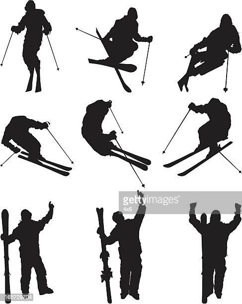 Skiers skiing extreme sport