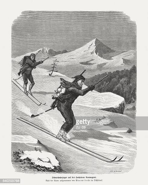 Skiing hunters in Norway, wood engraving, published in 1872