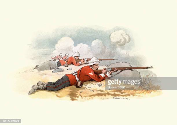skirmishers, soldiers of the 24th regiment of foot, victorian british army - army helmet stock illustrations