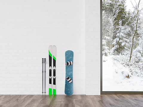 Skis and snowboard at a wall with view to winter landscape, 3d rendering - gettyimageskorea