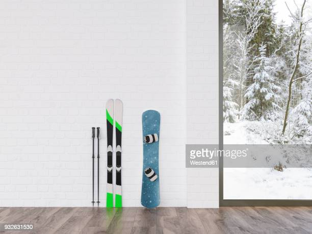 Skis and snowboard at a wall with view to winter landscape, 3d rendering