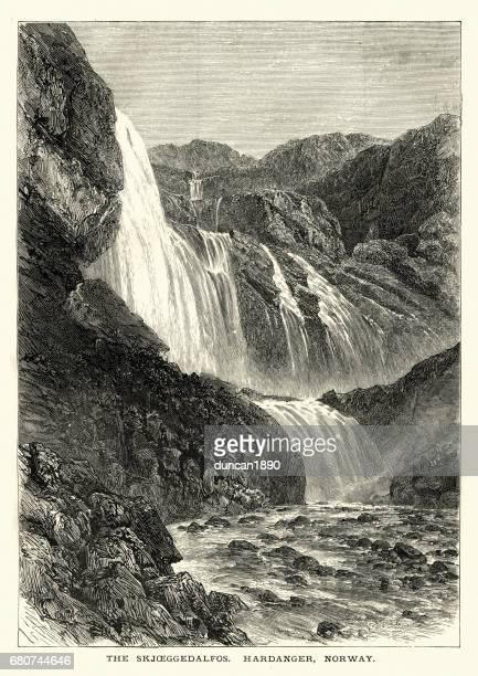 Skjeggedalfoss vattenfall, Hardanger, Norge, 1872