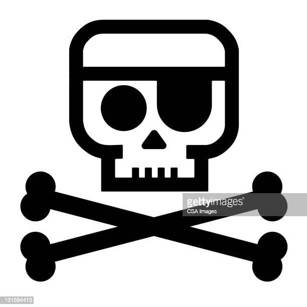 ilustrações de stock, clip art, desenhos animados e ícones de skull and crossbones - caveira