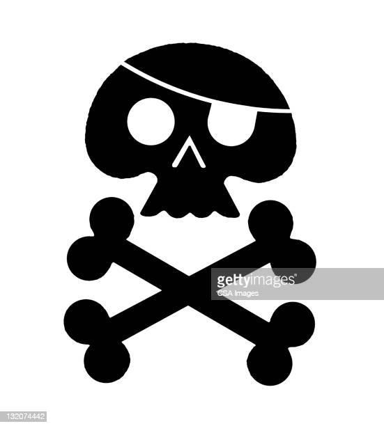 skull and crossbones - spooky stock illustrations