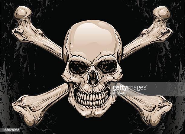 スカルとクロスボーン - 海賊旗点のイラスト素材/クリップアート素材/マンガ素材/アイコン素材