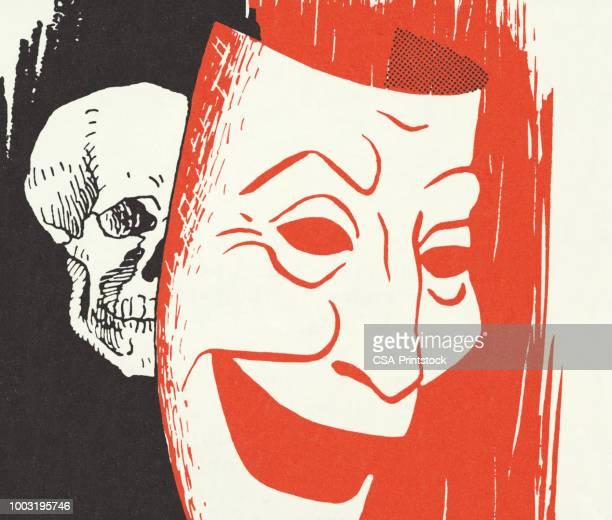 頭蓋骨とマスク - 悲劇の面点のイラスト素材/クリップアート素材/マンガ素材/アイコン素材